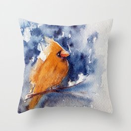The Yellow Bird- watercolors Throw Pillow