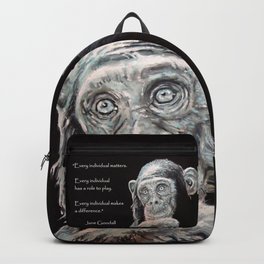 a Jane Goodall quote - black Backpack