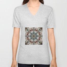 Vintage Distressed Mandala Design with hearts Unisex V-Neck