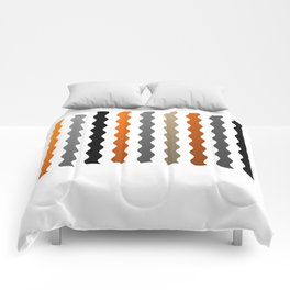Vertical Waves - Metallic Gold, Silver and Black Vertical Wavy Stripes Comforters