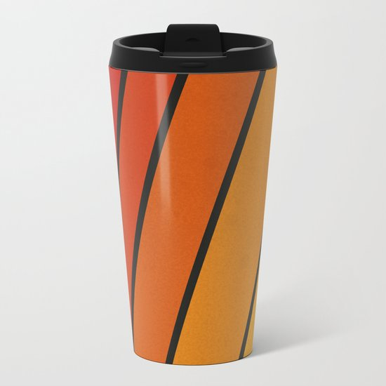 Retro 70s Stripes Metal Travel Mug