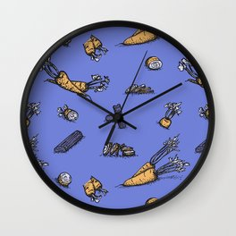 Trendy ultraviolet pattern with cattor and celery Wall Clock