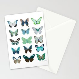 Green and Blue Butterflies Stationery Cards