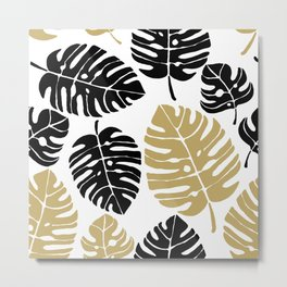 exotic leaves Gold, Black Exotico Metal Print
