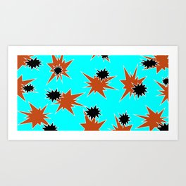 Stars (Orange & Black on Blue) Art Print