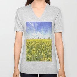 Summer Farm Trees Art Unisex V-Neck