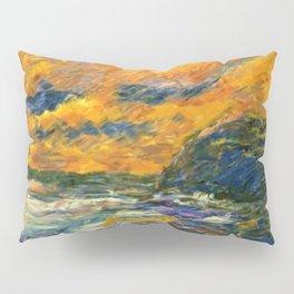 Brilliant Orange-Gold Sunset on the Autumn Sea landscape portrait painting by Emil Nolde Pillow Sham