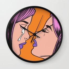 Two Crying Comic Girls Wall Clock