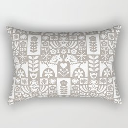 Swedish Folk Art - Warm Gray Rectangular Pillow