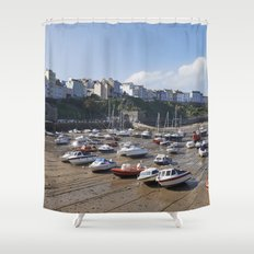 Boats in Tenby Harbour at low tide. Wales, UK. Shower Curtain