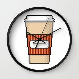 Coffee to go pixel art on white background. Wall Clock