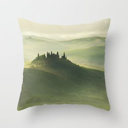 Foggy morning in Toscany Throw Pillow