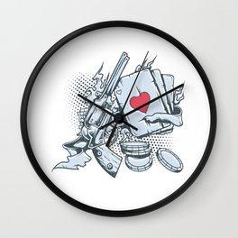 Revolver Cards Poker Chips Gambling Wall Clock