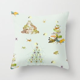 Critters Creating Christmas Trees Throw Pillow