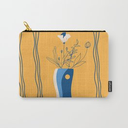 vase with flowers in blu and yellow Carry-All Pouch