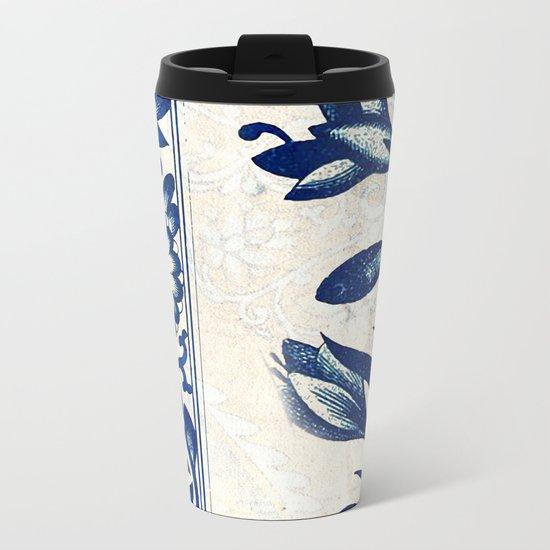 Blue Oriental Vintage Tile 03 Metal Travel Mug