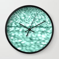 mint Wall Clocks featuring Mint Glitter Sparkles by WhimsyRomance&Fun