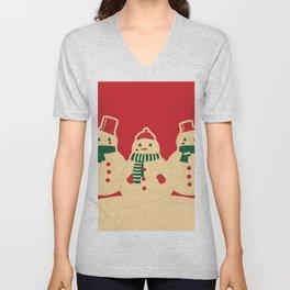 Kitschy Holiday Snowmen on Red Unisex V-Neck