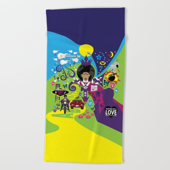The Emoji-fication of His Purple Majesty: The Full Story Beach Towel