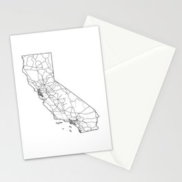 California White Map Stationery Cards