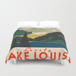 Lovely Lake Louise vintage travel ad Duvet Cover