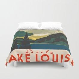 Lovely Lake Louise vintage travel ad Duvet Cover