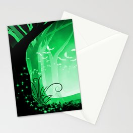 Dark Forest at Dawn in Emerald Stationery Cards