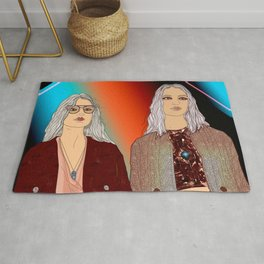Social Jetlag - Mean Girls Stare, Nice Girls Smile - Digital Art Rug