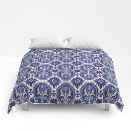 Portuguese Tiles Azulejos Blue White Pattern Comforters