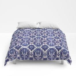 Portuguese Tiles Azulejos Blue White Pattern Comforters