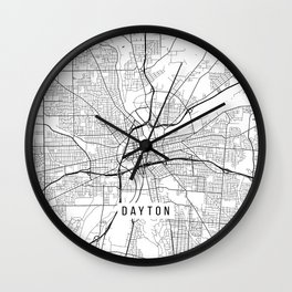 Dayton Map, USA - Black and White Wall Clock