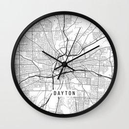 Dayton Map, USA - Black and White Wall Clock