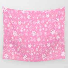 Snowflake Snowstorm In Pastel Pink Wall Tapestry