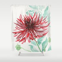 dahlia Shower Curtains featuring Bursting With Excitement  by Kate Havekost Fine Art