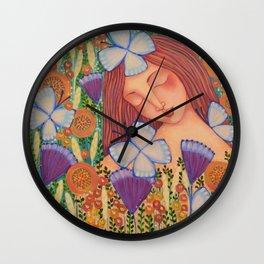 Woman with Butterflies Wall Clock