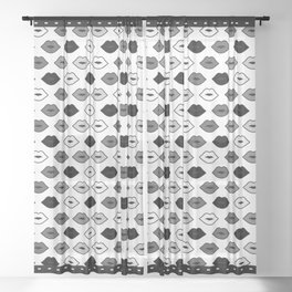 Chessboard Lips - Black and White Sheer Curtain