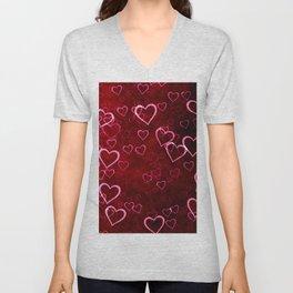 Pink Hearts Unisex V-Neck