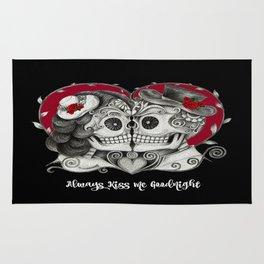Roses Sugar Skull Couple, Always Kiss Me Goodnight Rug