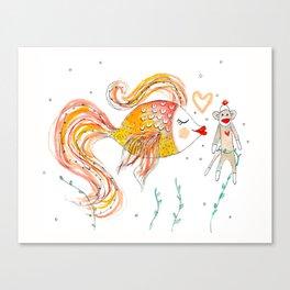 Sock Monkey love Canvas Print