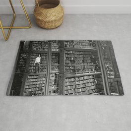 A book lovers dream - Cast-iron Book Alcoves Cincinnati Library black and white photography Rug