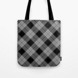 Black And White Tartan Plaid Tote Bag