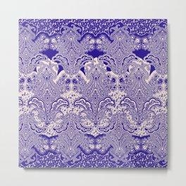 ornamental paisley flower in blue Metal Print
