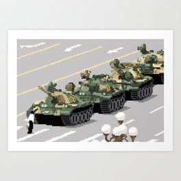 Pixelated Tank Man Art Print