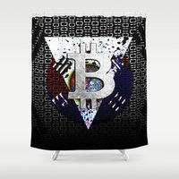 korea Shower Curtains featuring bitcoin south korea by seb mcnulty