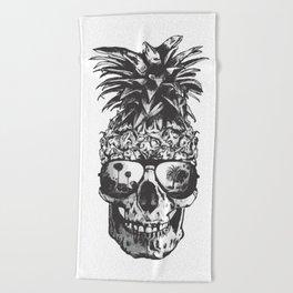 Pineapple Skull Head Beach Towel