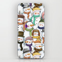Happy Snowmen Pattern iPhone Skin