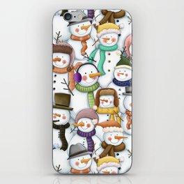 Happy Snowmen Pattern iPhone Skin