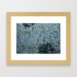 Ice pattern, frost decorating little stream of water Framed Art Print