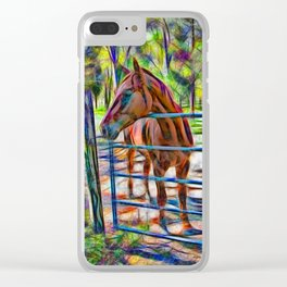 Abstract horse standing at gate Clear iPhone Case