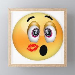 Kissing emoticon, Valentines day emoticon Love emoji symbols Framed Mini Art Print